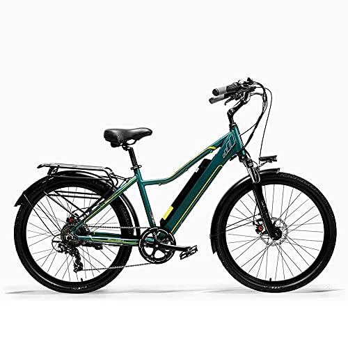 WXDP Autopropulsado Bicicleta eléctrica Urbana para Adultos, Frenos de Disco Doble, Bicicleta de Asistencia de Pedal de 26 Pulgadas, Marco de aleación de Aluminio, Resorte de Aceite, suspensión,