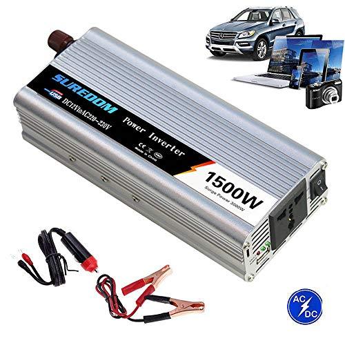 Auto Reiner Sinus Wechselrichter 500W/600W/800W/1000W/1200W/1500W/2000W Spannungswandler DC 12V/24V Auf AC 220V/230V/240V Umwandler - Inverter Konverter mit Steckdose und USB-Port,1500W-12Vto220V