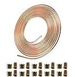 """AnvFlik Kit tubo del freno con 20 raccordi a dado, per uso automobilistico, in rame, 10 m e 3/16 """""""