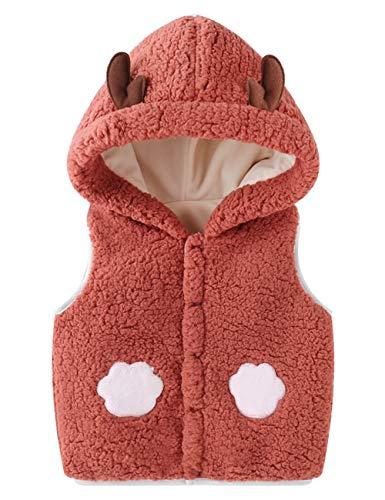 Happy Cherry - Chaleco de bebé recién nacido, sin mangas, 73 – 110 cm, suéter cálido para niños y niñas, chaleco de dibujos animados con orejas con capucha para invierno Rojo-marrón. 90 cm