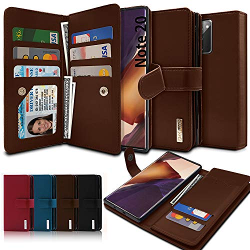 VVUPIC Brand Galaxy Note 20 Wallet Case, Luxury [Dual Flip] with Magnetic Closure, PU Leather, 11 Card Slot Included Convenient Dual Flip Cover Case - Brown