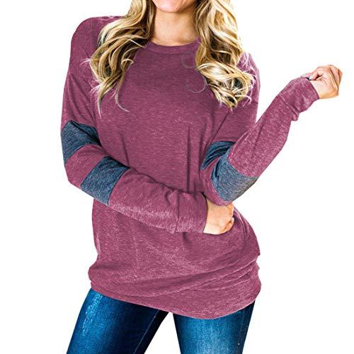 Damen-Sweatshirts Lässige Langarm-T-Shirts Bequeme Bluse mit Rundhalsausschnitt...