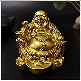 QWERTOUY Oro Riendo Estatua de Buda Feng Shui Chino Dinero Maitreya Buda Escultura Figuras para el hogar Jardín Decoración Estatuas,A