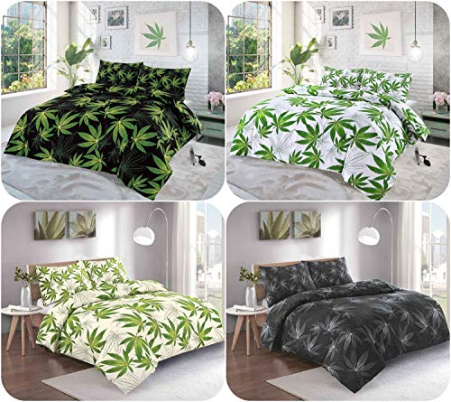 Cannabis Reversible Duvet Set 4 Colors Choice - KingSize Marijuana Leaf Weed Quilt Cover + Matching Pillow Cases (Black - Green)