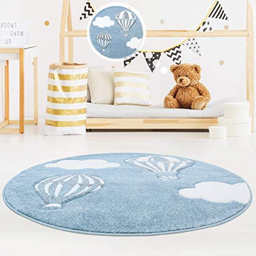 MyShop24h Kinderteppich Kinderzimmer schöner Teppich in Blau/Weiß Hochwertig Bueno Konturenschnitt Himmel Heißluft-Ballons Wolken, Größe in cm:160 x 160 cm rund