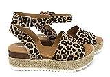 Soda Topic Casual Espadrilles Flatform Wedge Open Toe Sandal Oat Cheetah (8)