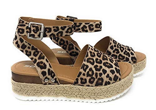 Soda Topic Casual Espadrilles Buckle Ankle Strap Open Toe Sandal (7 M US, Oat Cheet)