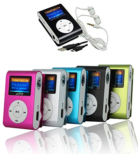 takestop Mini Lettore MP3 YF Player Clip USB con Display LCD Screen Supporta 32GB Micro SD FM Radio Colore Casuale