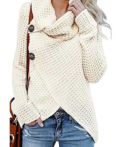 kenoce Jersey Mujer Jersey de Cuello Alto Mujer Jersey Grueso Pullover Jersey Jersey Dobladillo Asimétrico D-Blanco XL