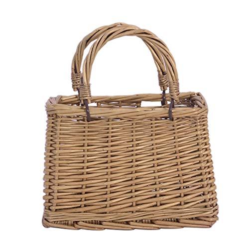 cherrypop, cestino da regalo in vimini, cestino portatile per caramelle pasquali, con manico, raccolta di uova, cestino da matrimonio