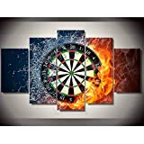 ZFKOB 5 Canvas Home Decoration Art Painting Canvas Poster Living Room HD Printed Pictures 5 Panels Dart Board Wall Art Home Decor Sports Painting