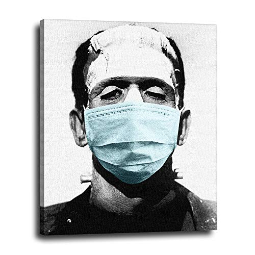 Coronavirus Frankenstein Canvas Wall Decor 16x20 - Face Covering Mask Art - Funny Covid 19 Home Decoration for Movie, Horror, Thriller Fan - Great for Bedroom, Bathroom, Kitchen - Ready to Hang Photo