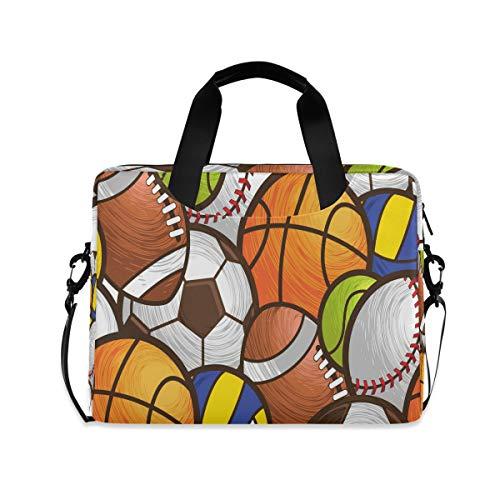 OOWOW - Bolsa de ordenador portátil para mujeres y hombres, diseño de bola deportiva de acuarela, ligera, maletín de 14 15,6 y 16 pulgadas, bolsa de mensajero para computadora