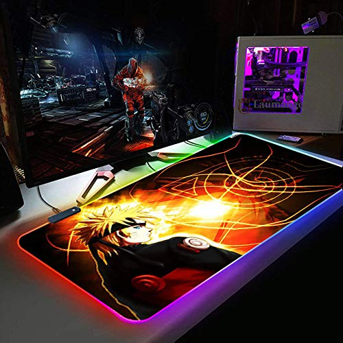 Mouse Pads Cool Anime Naruto Large Computer Keyboard Mat RGB Led Glowing Mouse Pad Gamer Gaming Luminous Mousepad XXL USB for PC Game 11.81'x35.43'