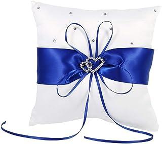 20cm × 20cm Novia de la Boda de Bolsillo del Anillo Amortiguador de la Almohadilla del Portador con el Doble de los Corazones de la decoración, Blanco de Marfil/Rojo/Azul/púrpura (Color : Blue)