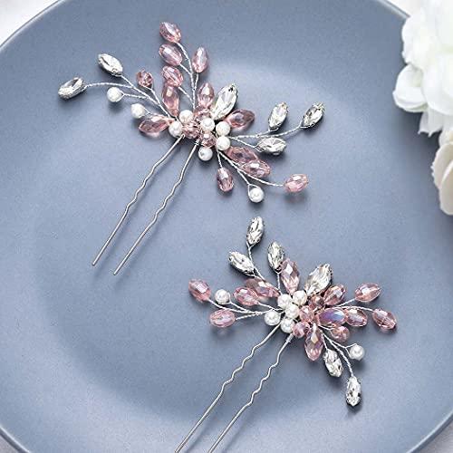 Unicra - Forcine per capelli da sposa con cristalli argentati, accessori per capelli da sposa per donne e ragazze, confezione da 2