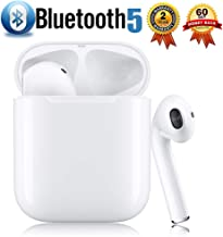 Bluetooth 5.0 Wireless Earbuds with【24Hrs Charging Case】 Waterproof TWS Stereo Headphones in-Ear Built-in Mic Headset Premium Sound with Deep Bass for Sport Earphones Apple Airpods Headphones