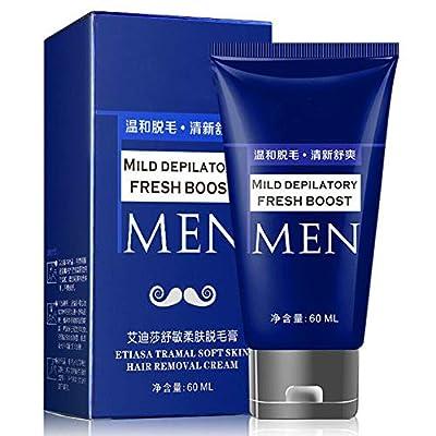 60ml Permanent Hair Removal Cream for Men, Painless Extra Gentle Depilatory Cream for Facial, Beard,Moustache Body & Sensitive Areas by Nekomiya Hinata