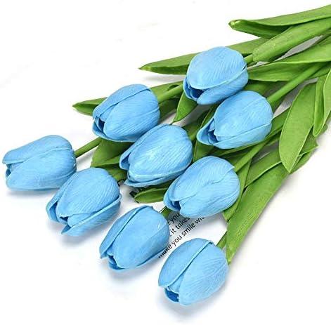 CSYP Kunstbloemen Tulpen Real Touch PU Latex Boeketten Decoratie voor Bruiloft Feest Valentijnsdag Geschenken Bloemarrangement Tuin Home Kleur Lichtblauw Maat 9PCS