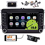 Android 10.0 Car Radio GPS Navigation 7 inch Car Stereo Double 2 Din Head Unit for Golf Jetta Skoda Tiguan Polo 1G RAM 16G ROM with Touch Screen USB SD CANBUS FM Bluetooth SWC & Free rear camera