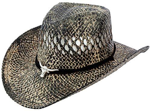 Classic Straw Cowboy Cowgirl Hat Western Outback w/Wide Brim (Bull 2)