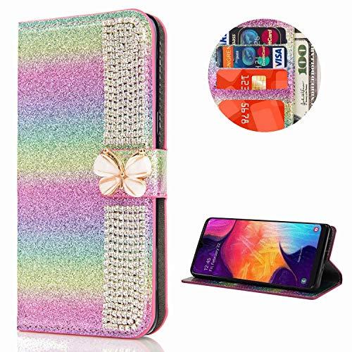 Miagon Hülle Glitzer für Samsung Galaxy A30S,Diamant Strass Schmetterling Kette PU Leder Handyhülle Ständer Funktion Schutzhülle Brieftasche Cover,Regenbogen Rosa