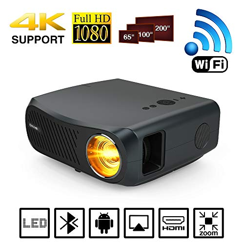 Wifi Full HD 1080P Native Projector Support 4K LED LCD Bluetooth Home Theater Outdoor Office Projectors with Android HDMI USB VGA AV Audio 1920x1080 for Smartphone Laptop PC Presentation DVD TV Gaming