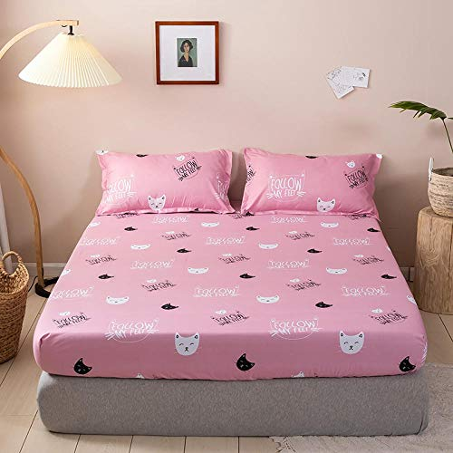 LCFCYY Anti-Allergy Anti-Bacterial Fitted Bed Sheet Double,Printed children's bedroom dust-proof fitted sheets, polyester bedding mattress topper for single double king-C_180*200cm