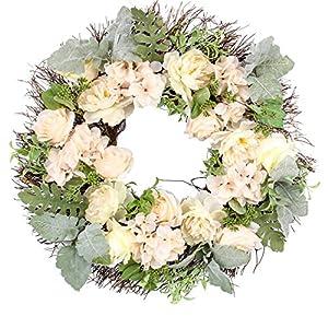 Jusdreen 20 Inch Spring Artificial Wreath Ornaments Front Door Window Hanging Decorations