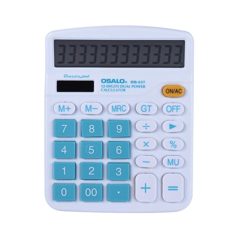 ロバアクセス悲しむaibecyハンドヘルドカラフル標準関数デスクトップ電子計算機ソーラーと電池デュアル電源12桁ブルー XOI6685817444129EH