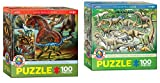 100 Piece Puzzles for Kids Dinosaur Puzzles: 2 Dinosaur Toy Puzzles - Carnivirous Dinosaurs and Dinosaurs of The Cretaceous Period