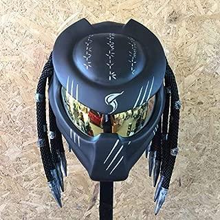 JK11 New Gorgeous Custom ฺBlack Predator Helmet AIRBUSH Painting DOT Standard – Ship from Thailand (L = 59-60 cm)