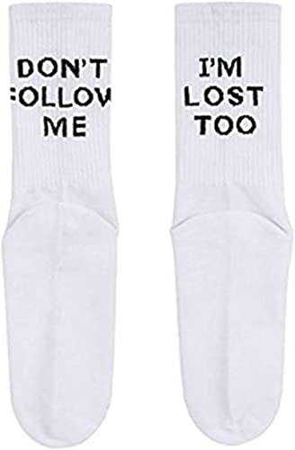 Women Men Cotton Socks Novelty with Don/'t Follow Me I/'m Lost Too 2 Pack