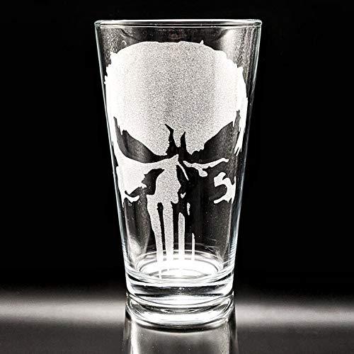 PUNISHER SKULL Engraved Pint Glasses   Inspired by Marvel...