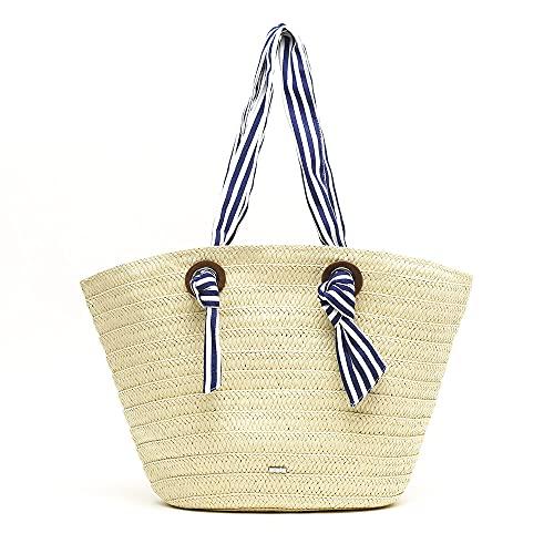 MISAKO Bolso Rafia Mujer Tipo Cesto | Bolso Grande de Playa Blanco Azul a Raya de Paja | Bolso de Verano con Asa para Mujer | Cierre Cremallera