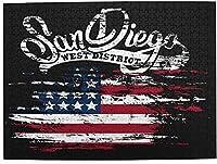 大人のアメリカ国旗サンディエゴのためのWAWEHOYジグソーパズル500ピース