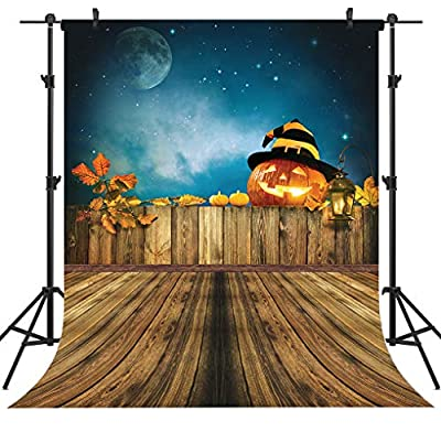 OUYIDA Halloween Pumpkin Head Jack Lantern On Wooden Fence Pictorial Cloth Customized Photography Backdrop Background Studio Prop 10X10FT TP266C