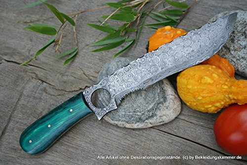 Damastmesser Anagatana Rosendamaststahl Rittermesser oder Mongelische Messerform mit Zierung aus Damast