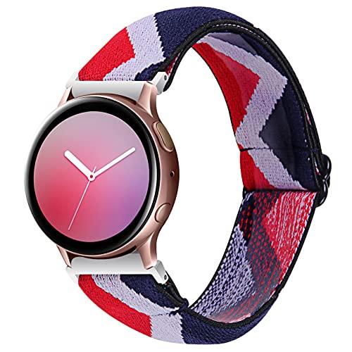 Bandas de Engranajes S2 Classic, TechCode 20mm Ajustable Reemplazo de Nylon Banda de Lazo elástico Pulsera de la Correa de Reloj para Samsung Galaxy Watch 42mm/ Active 2/ Watch 3 41mm (C07)