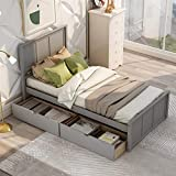 Bellemave Twin Platform Bed with Drawers / Wooden Storage Bed with Headboard...