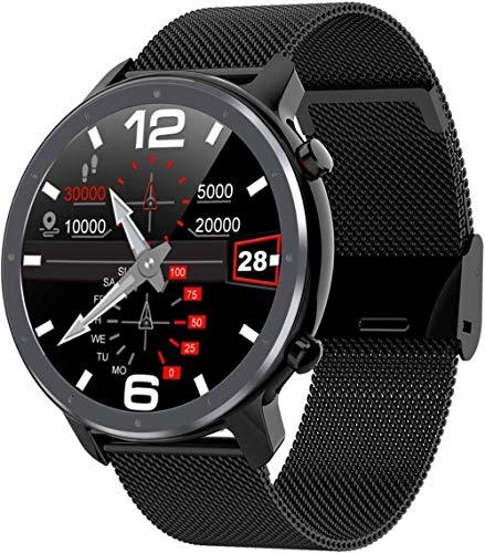 Reloj Cara Hombres Smart Watch L11 ECG & 24 Horas Monitor de Frecuencia Cardíaca IP68 Impermeable Banda Inteligente Soporte Multi-Deporte-Negro Metal