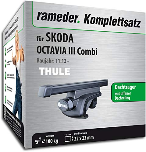 Rameder Komplettsatz, Dachträger SquareBar für Skoda Octavia III Combi (115961-11196-92)