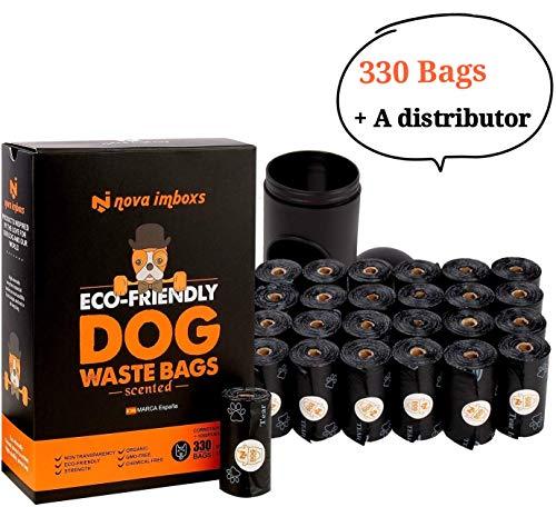 Nova Imboxs 330 Bolsas Excrementos Perros, Bolsas Biodegradables Ecológicas Fragantes Durables Portátiles a Prueba de Fugas Extragrandes con Dispensador en forma de Cápsula (330PCS/22 Rollos)