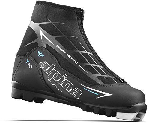Alpina Sports Women's T10 Eve Touring Ski Boots With Zippered Lace Cover, Black/White/Blue, Euro 37