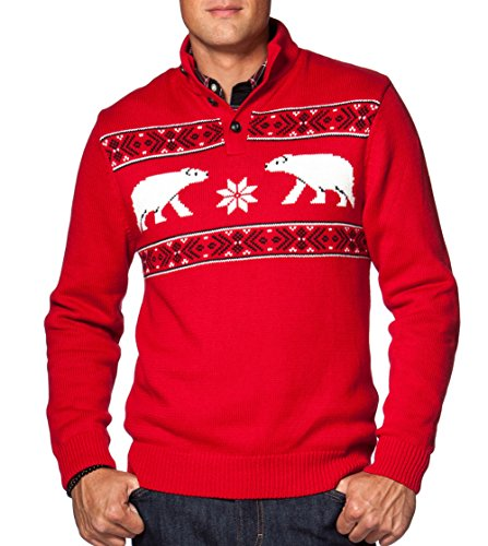 Chaps Men's Classic Fit Holiday Nordic Inspired Polar Bear Mockneck Sweater, Chaps Red (Medium)