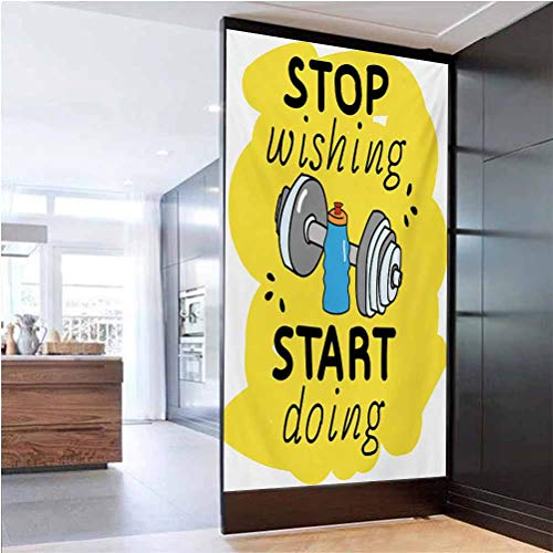 W 23.6' x L 78.7' Frosted Privacy Window UV Blocking Heat Control Privacy Glass Stickers,Stop Wishing Start Doing Inspiring Inscription Dumbbells Water Sports Doodle Style Multicolor