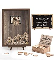 Homish Wedding Guest Book Alternative Rustic Wedding Decorations for Reception Wedding Signs Rustic Brown
