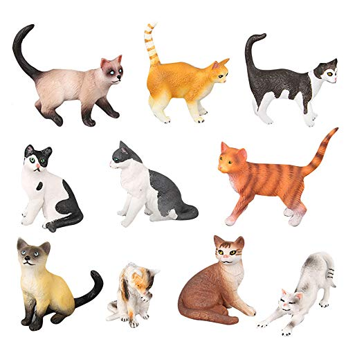 10 Pcs Realistic Cat Figurines, Kawaii Animal Cat Figure Collection Playset Educational Cat Figures Toy Set, Kitten Cat Cake Topper Christmas Birthday Gift for Kids Boys Girls Children Cat Lover