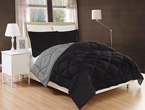 Elegant Comfort All Season Comforter and Year Round Medium Weight Super Soft Down Alternative Reversible 3-Piece Comforter Set, Full/Queen, Black/Grey