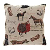 Signare Tapestry Double Sided Square Throw Pillow Cover 18' x 18'/ 45cm x 45cm (No Padding) in Horse Design